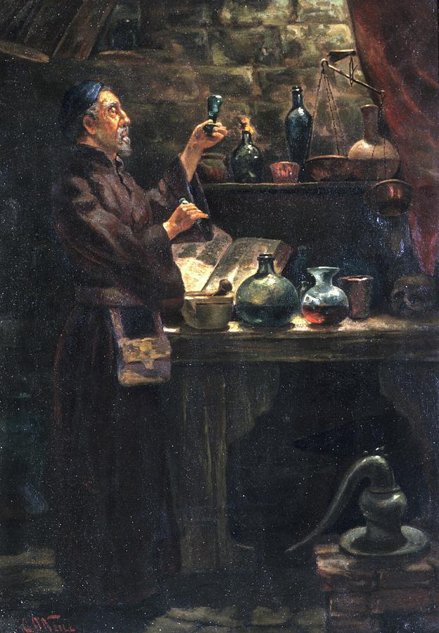 The Alchemist Photograph - Alchemist At Work by Will Brown/chemical Heritage Foundation/science Photo Library