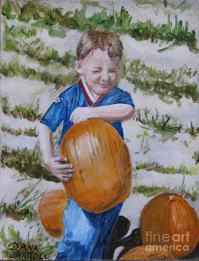 Portrait Painting - Alex And The Great Pumpkin 1488aa by Dana Carroll