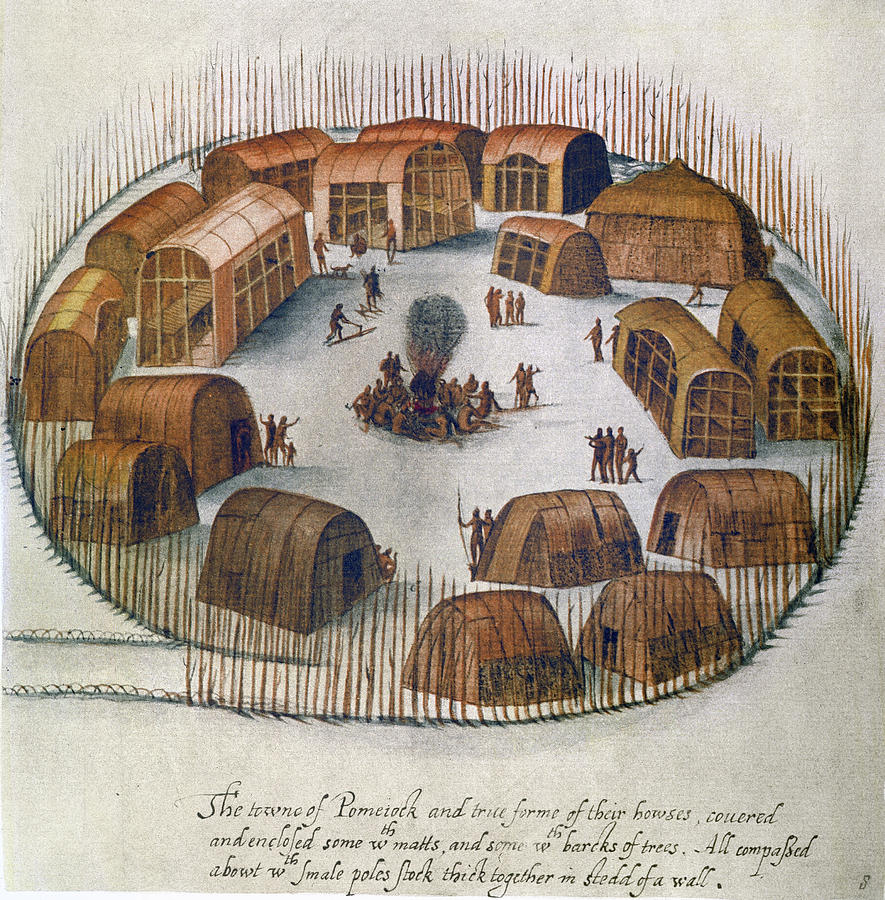 Algonquian Drawing - Algonquian Village, 1585 by Granger
