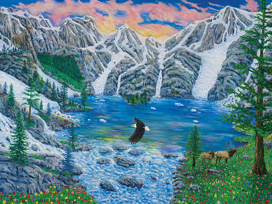 Mountains Painting - All Creation Cries Out. by Mike De Lorenzo