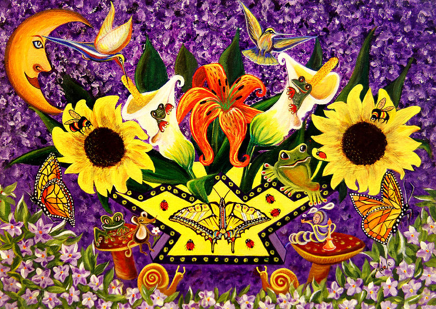 Sunflower Painting - All Gods Creatures by Adele Moscaritolo
