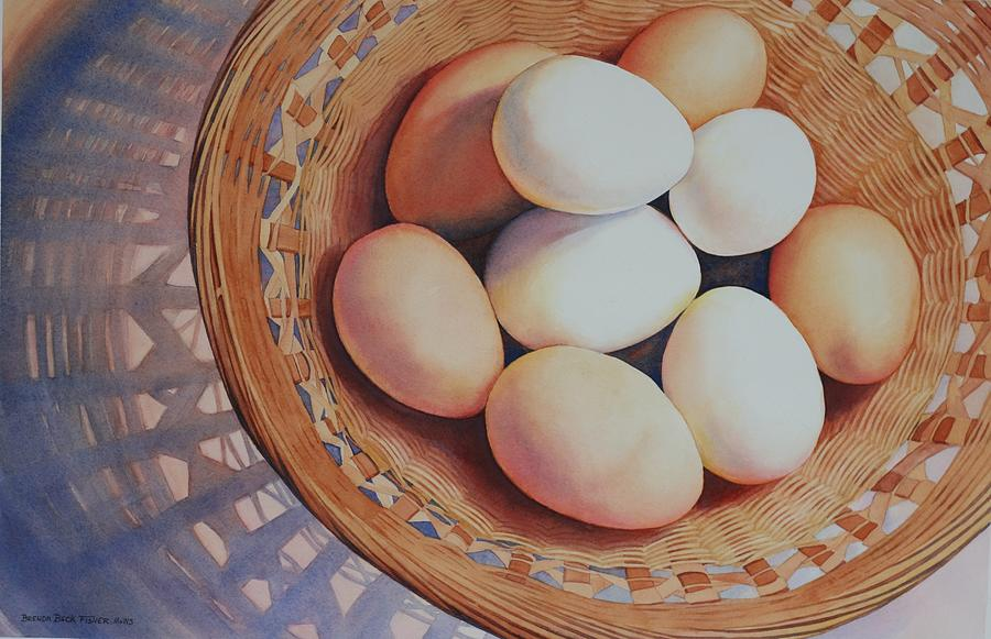 Eggs Painting - All My Eggs in One Basket by Brenda Beck Fisher