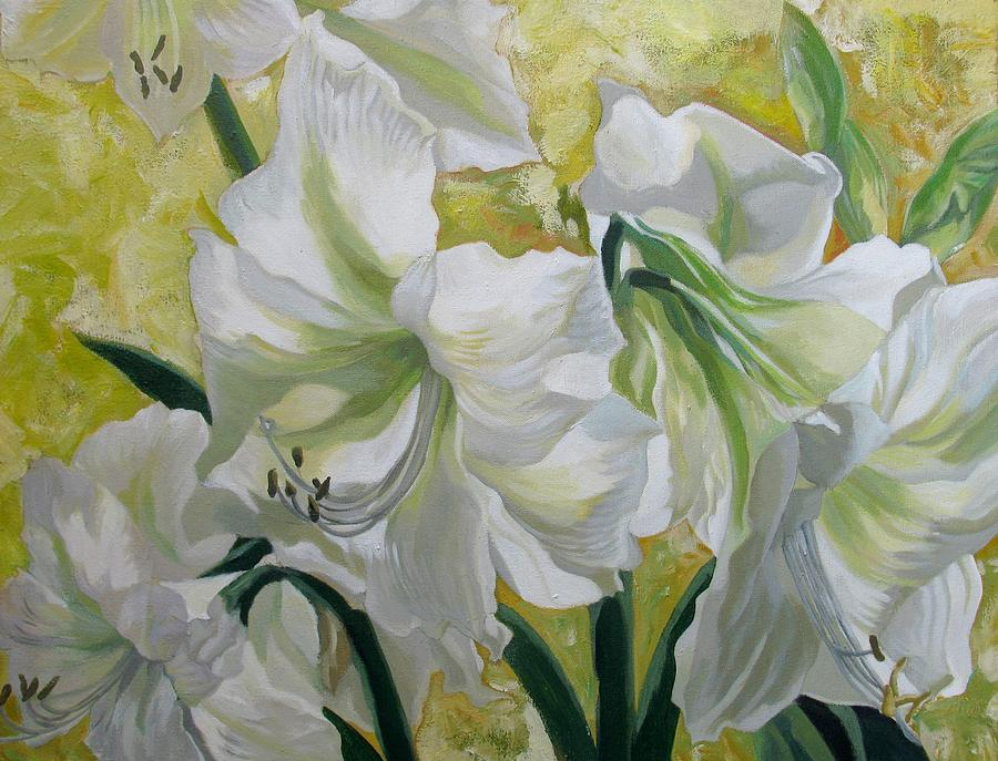 Amaryllis Painting - Amaryllis With Yellow by Alfred Ng