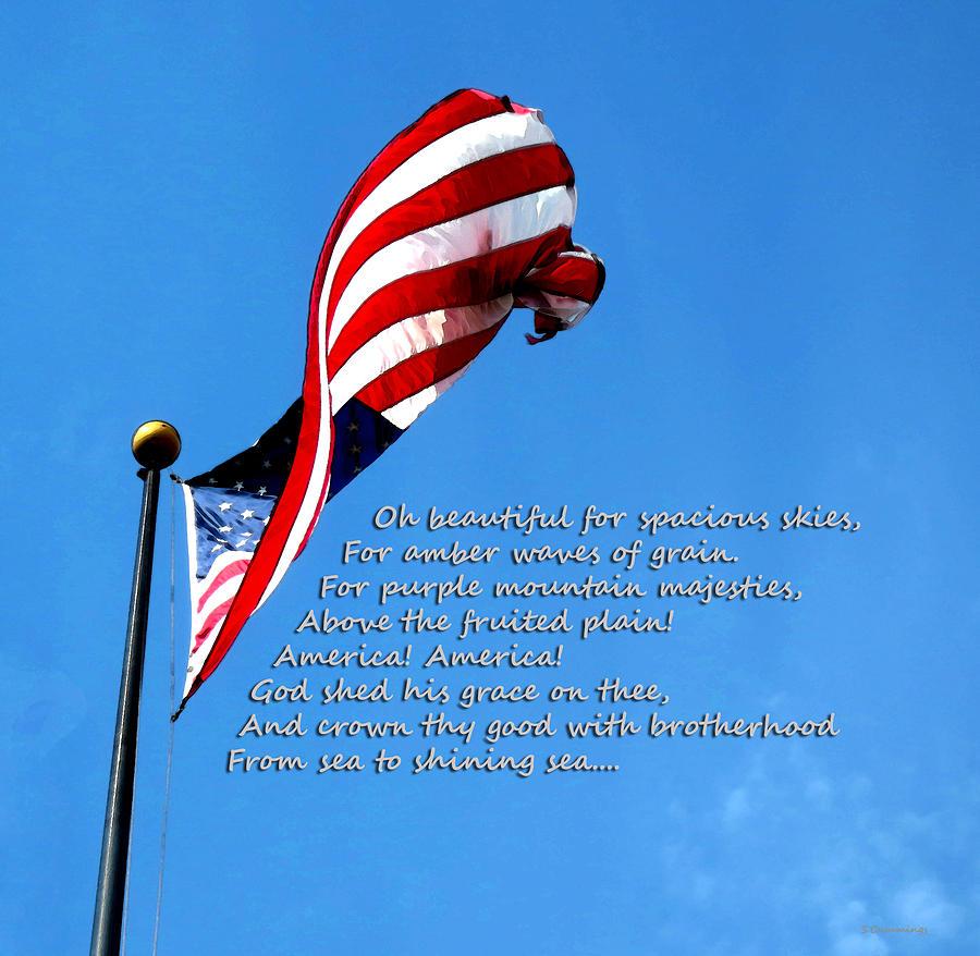 Flag Painting - America The Beautiful - Us Flag By Sharon Cummings Song Lyrics by Sharon Cummings