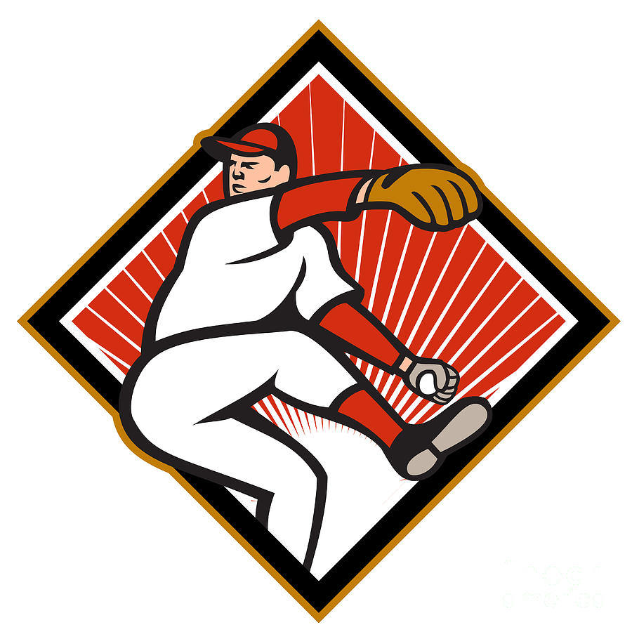 American Digital Art - American Baseball Pitcher Throwing Ball Cartoon by Aloysius Patrimonio