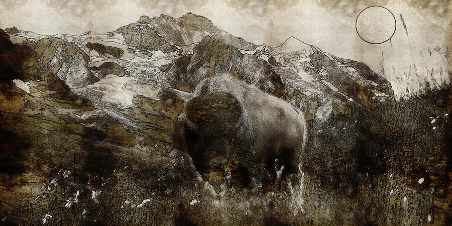 American Bison In The Rockies Painting