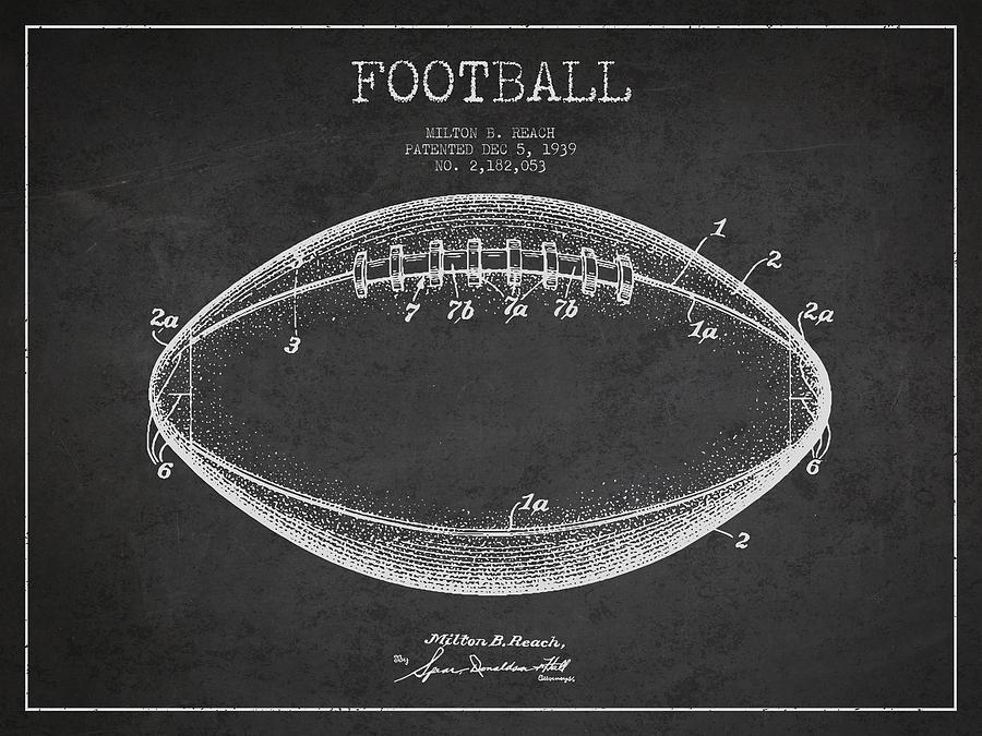 American Football Patent Drawing From 1939 Digital Art