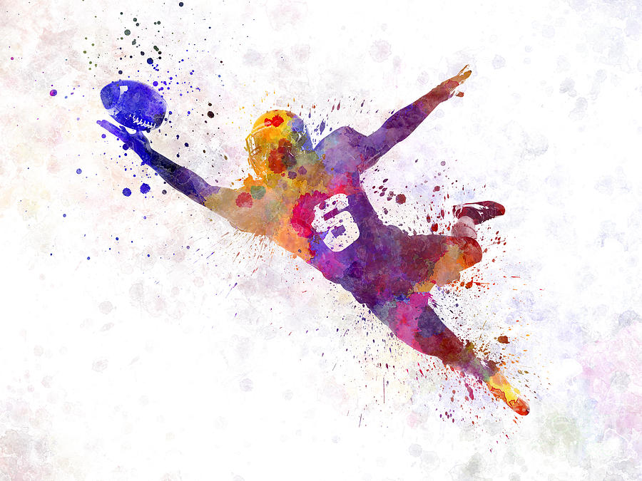 American Football Player Catching Ball Silhouette Painting