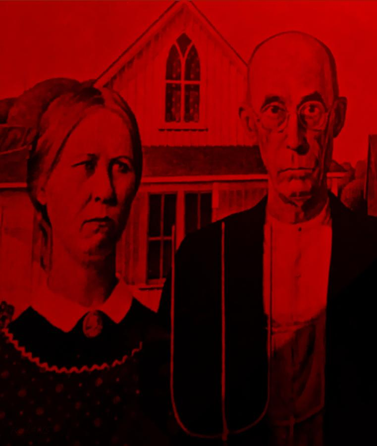 Americana Photograph - American Gothic In Red by Rob Hans