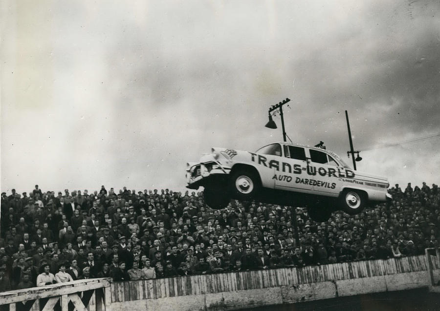 Retro Photograph - American Stunt Car Drivers Give Displays In Edinburgh by Retro Images Archive
