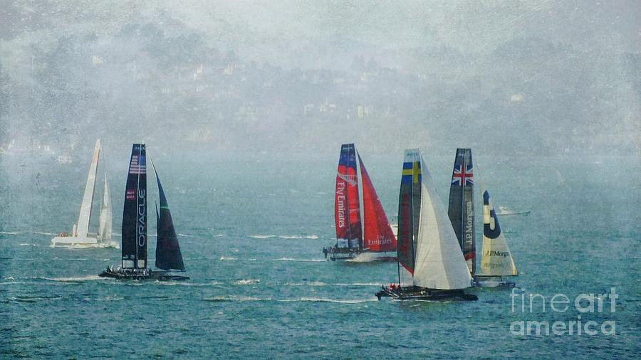 Racing Yachts Photograph - Americas Cup Racing by Scott Cameron