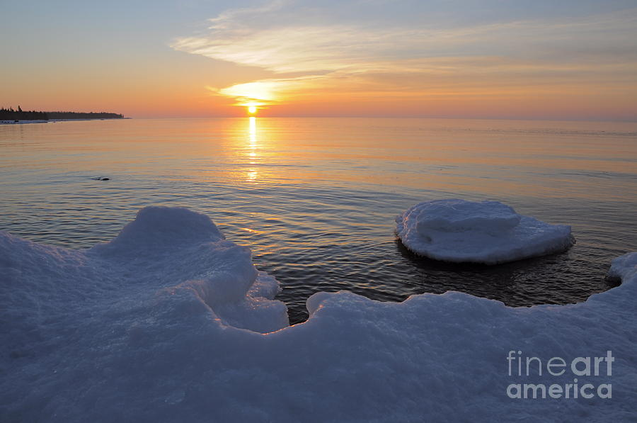 An Icy  Superior Sunrise Photograph by Sandra Updyke