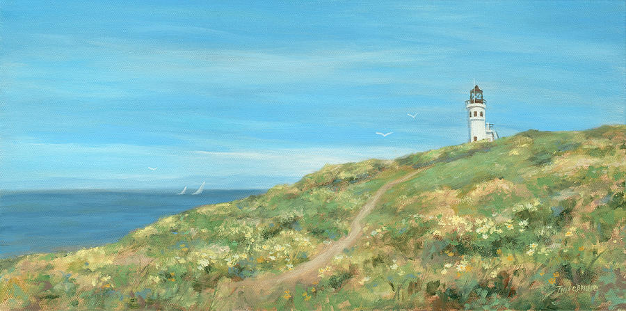 Anacapa Lighthouse Study Painting by Tina Obrien