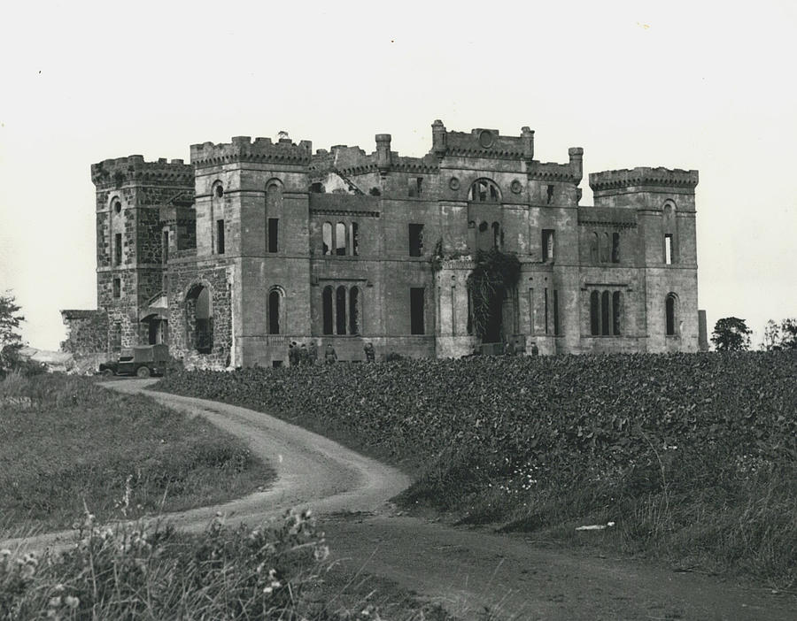 Retro Photograph - Ancient Castle Goes Up In Smoke. Blown Up By 500 Of by Retro Images Archive