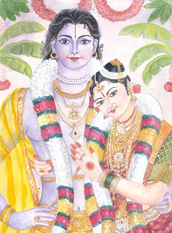 Andal Krishna Marriage. Andal Is Said To Be An Incarnation Of Bhumi Devi Painting - Andal Krishna by Parimala Devi Namasivayam
