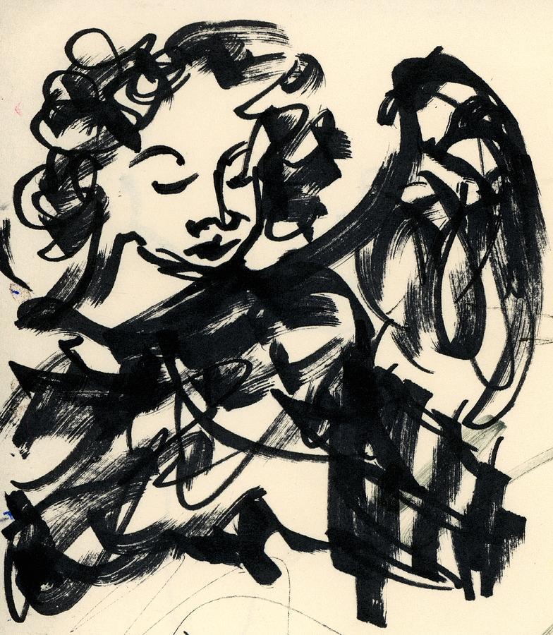 Angel Drawing - Angel Sketch by Rachel Scott