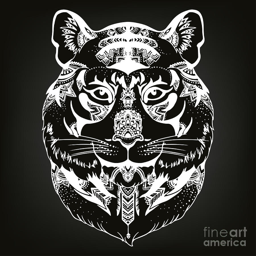 Character Digital Art - Animal Head Print For Adult Anti Stress by Anastasia Mazeina