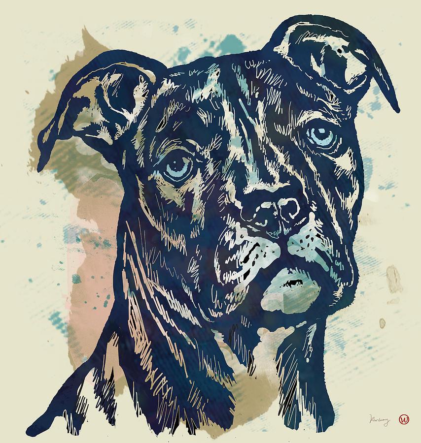 Portraits Drawing - Animal Pop Art Etching Poster - Dog - 4 by Kim Wang