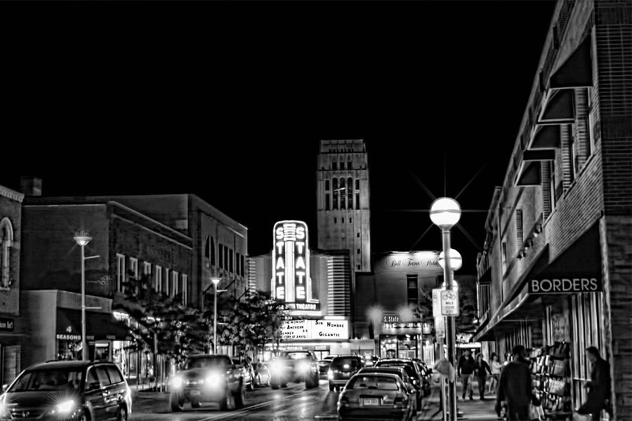 Black And White Photograph - Ann Arbor Nights by Pat Cook