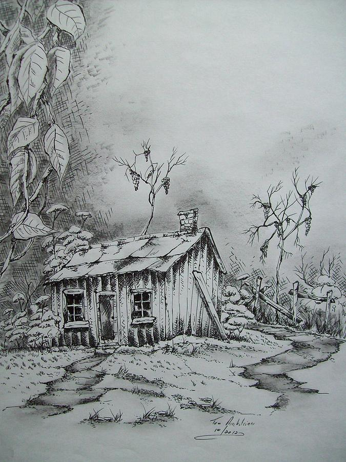 Old Houses Drawing - Appalachian Old Shed by Tom Rechsteiner