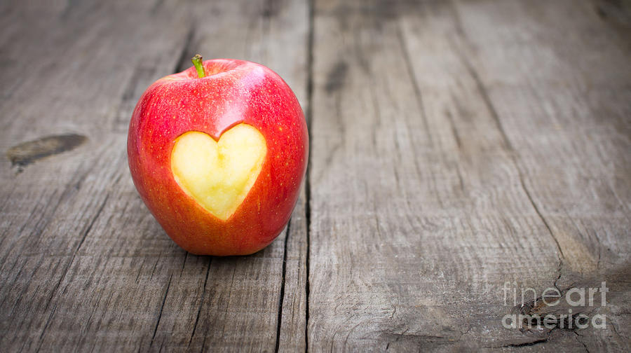 Apple Photograph - Apple With Engraved Heart by Aged Pixel