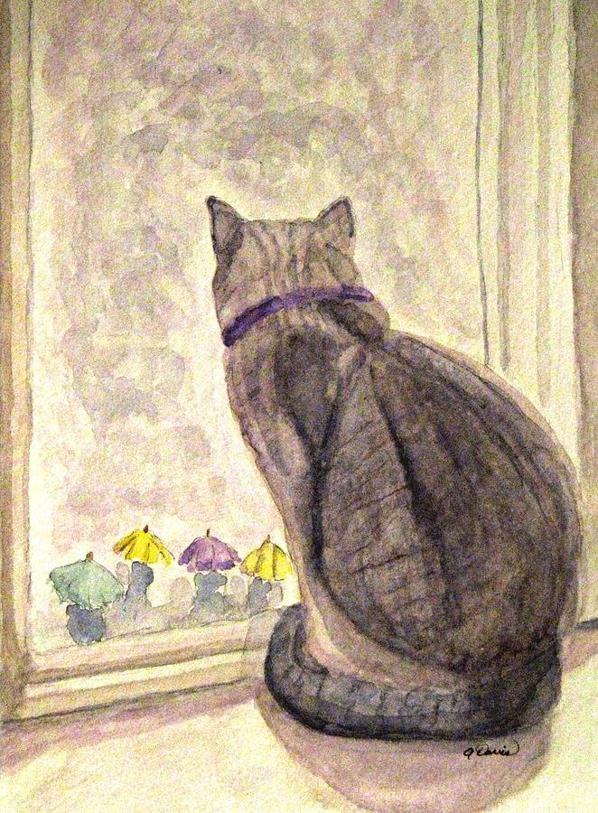 Cats Painting - April Showers by Angela Davies