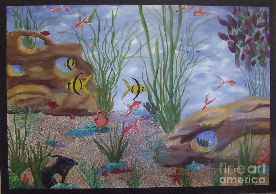 Water Painting - Aquarium by Debra Piro