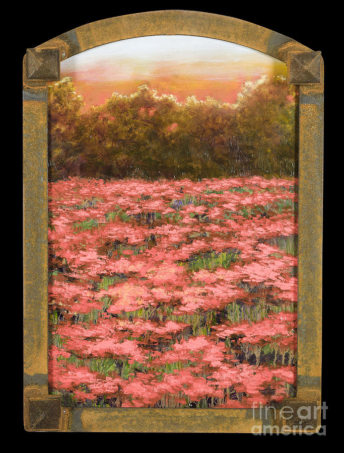 Arched Morning Orange Poppy Field w Frame by Vic  Mastis