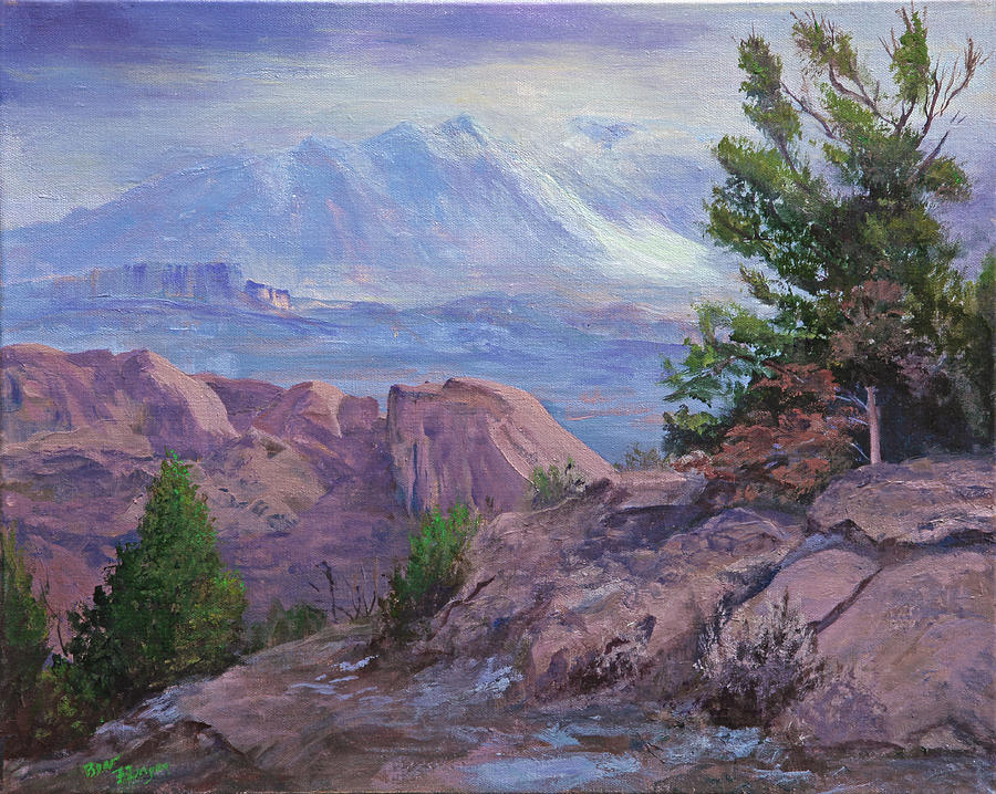 Purple Mountains Painting - Arches View Point by Bev Finger