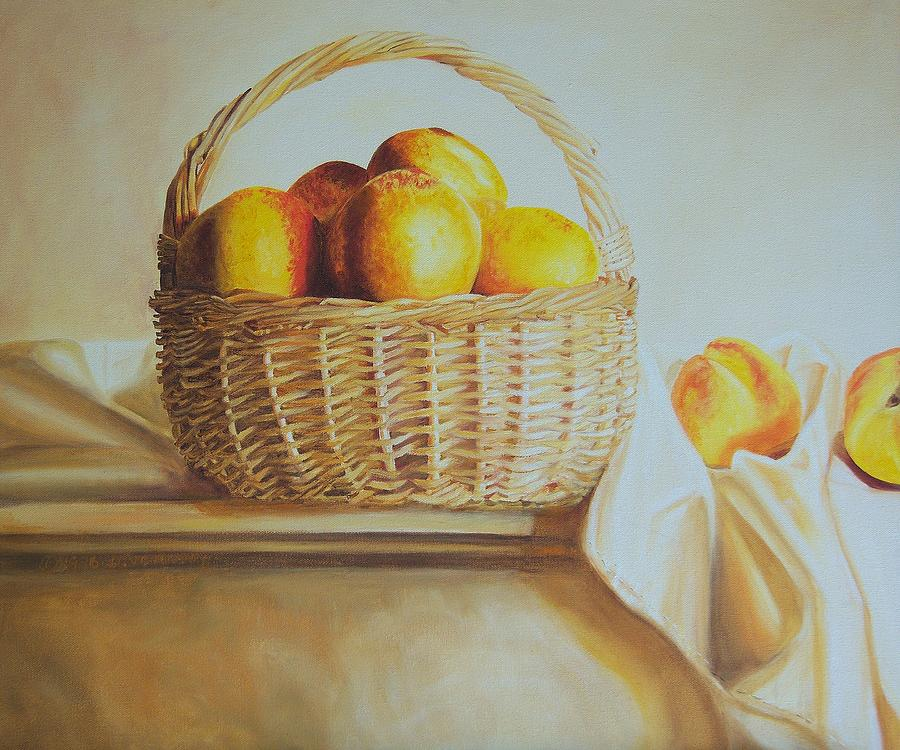 Original Painting - still life print original oil painting Basket Full of Peaches by Diane Jorstad