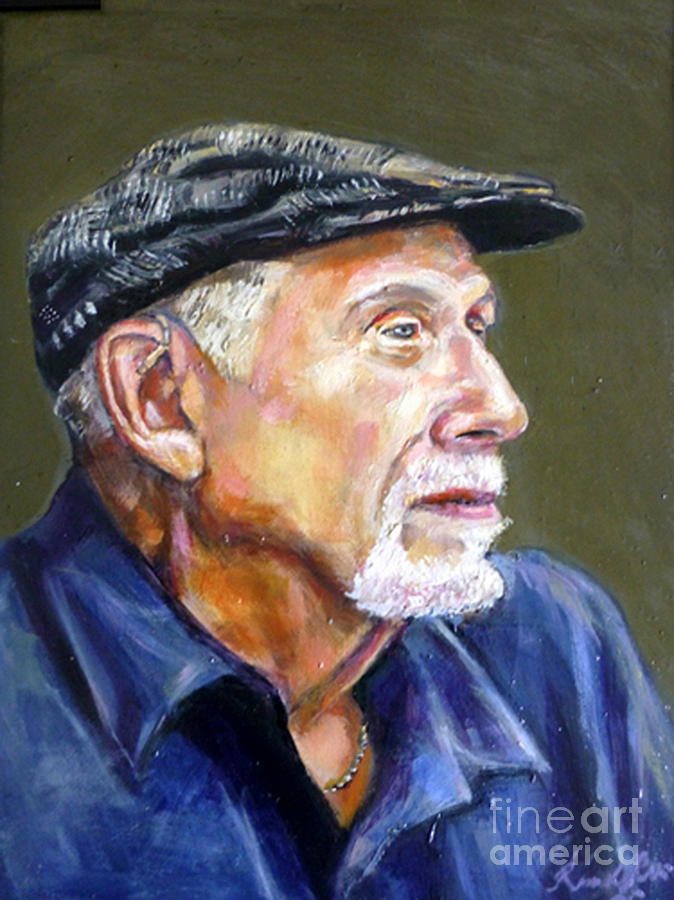 Portrait Painting - Artist In Cap by Renuka Pillai