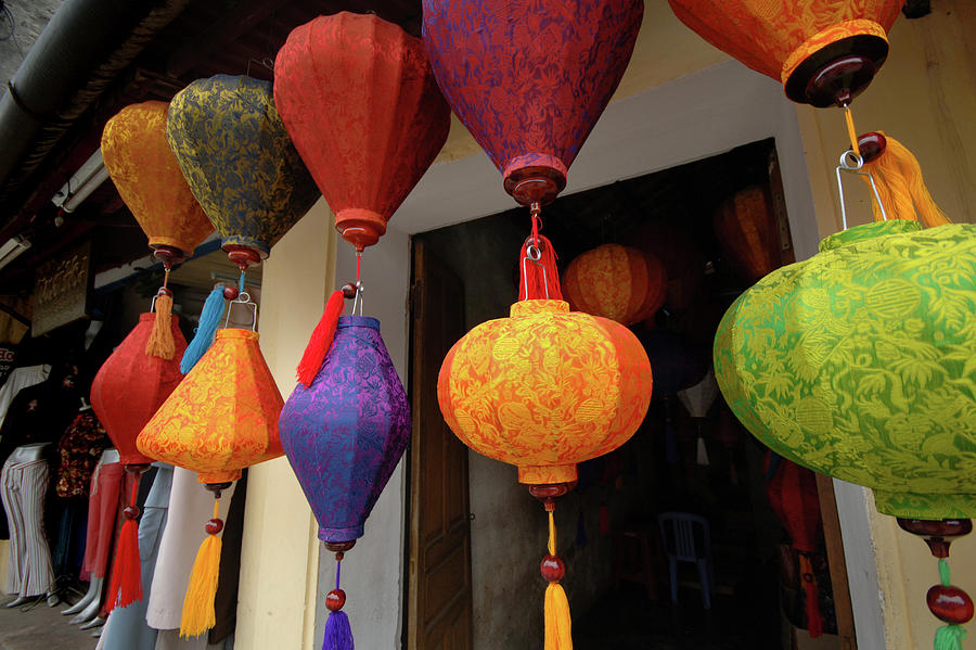 Asia Photograph - Asia, Vietnam Colorful Fabric Lanterns by Kevin Oke