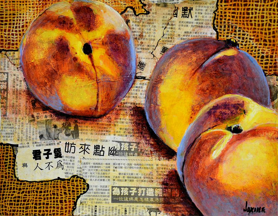 Fruit Mixed Media - Asian Peaches by JAXINE Cummins