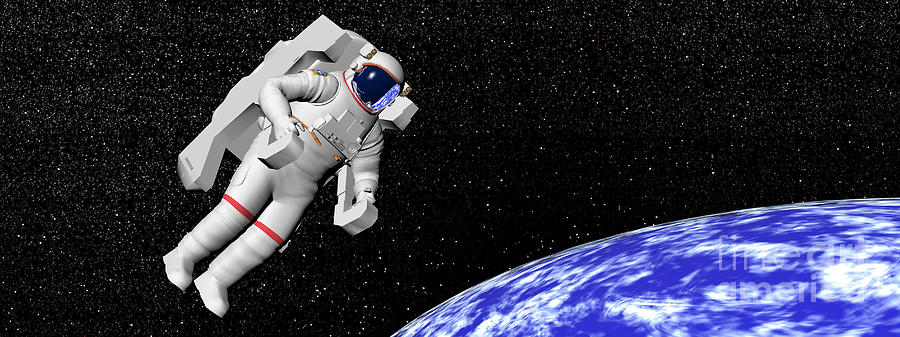 an astronaut floating in space - photo #17