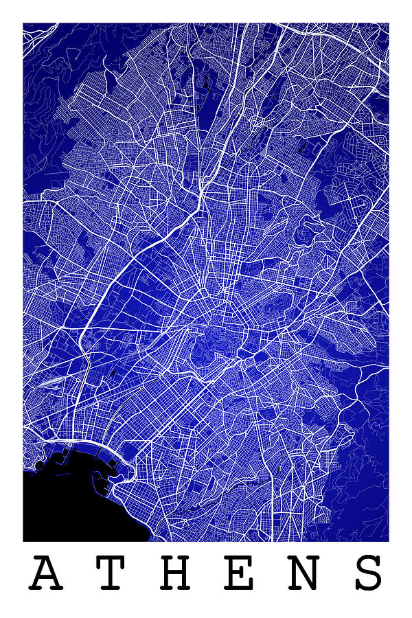 Athens Street Map Athens Greece Road Map Art On Color Digital Art