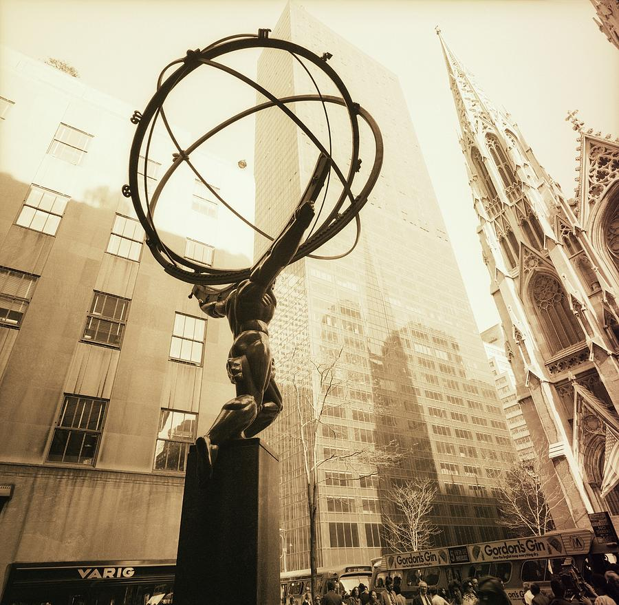 Atlas Sculpture In New York City Photograph by Horst P. Horst
