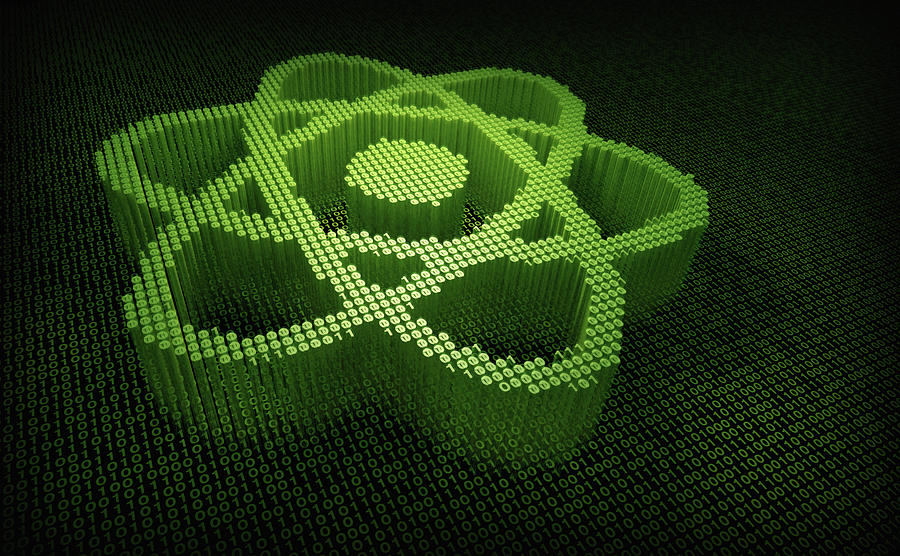 Atom Symbol In Three Dimensional Binary by Ikon Images