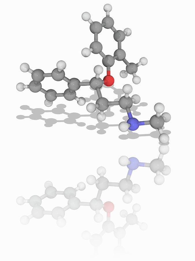 Adhd Photograph - Atomoxetine Drug Molecule by Laguna Design/science Photo Library