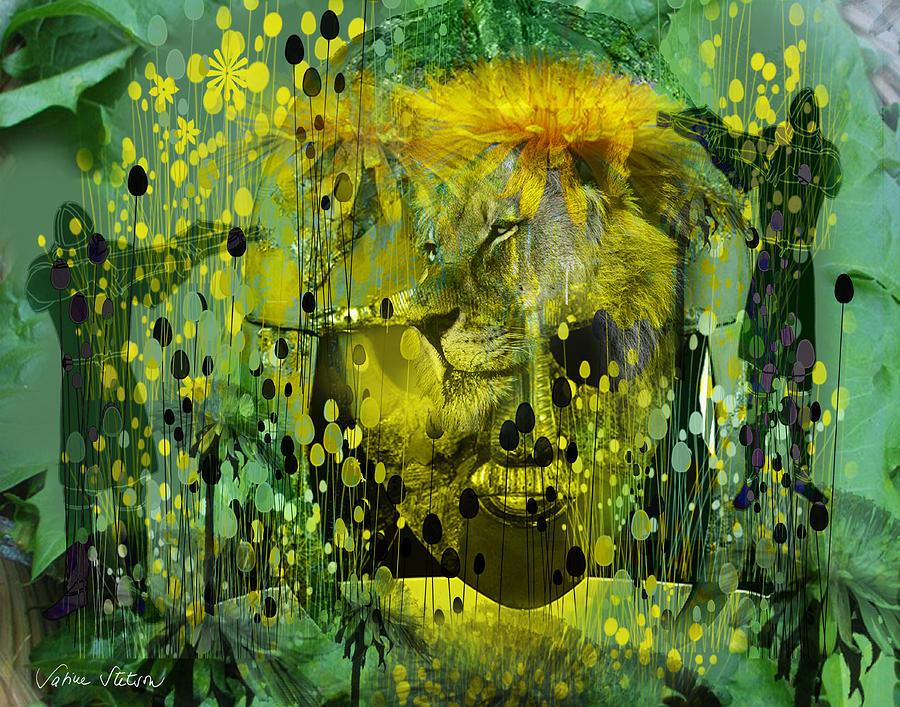 Dandelion Digital Art - Attacking The Dande-lion by Sabine Stetson