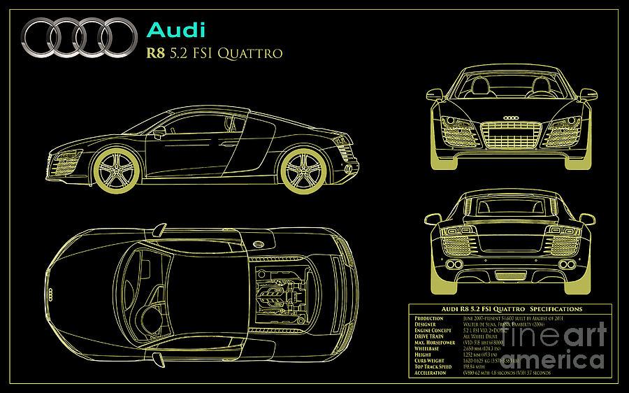Audi r8 blueprint photograph by jon neidert audi quattro photograph audi r8 blueprint by jon neidert malvernweather Image collections