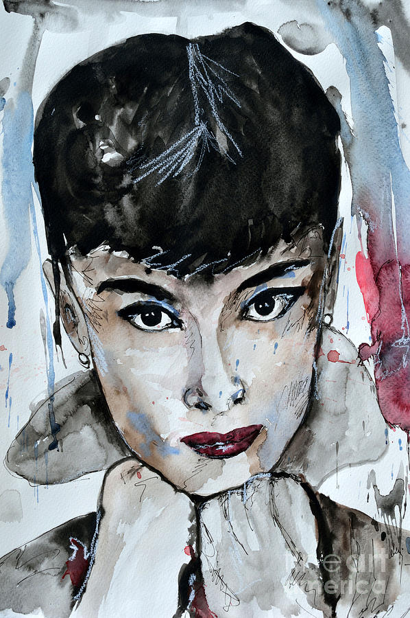 Portrait Painting - Audrey Hepburn - Abstract Art by Ismeta Gruenwald