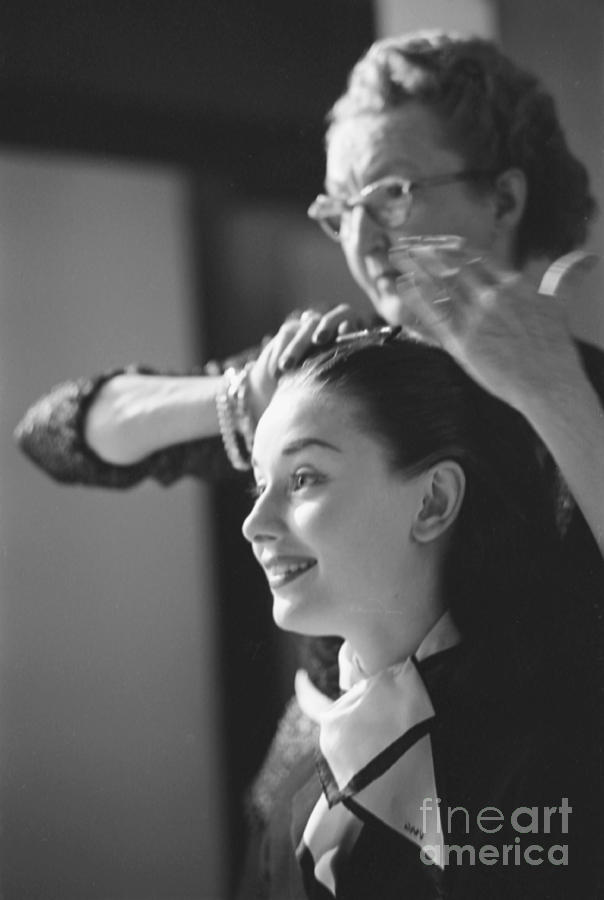 Audrey Hepburn Preparing For A Scene In Roman Holiday Photograph By