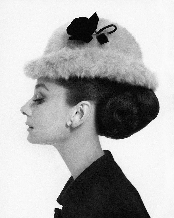 Accessories Photograph - Audrey Hepburn Wearing A Givenchy Hat by Cecil Beaton