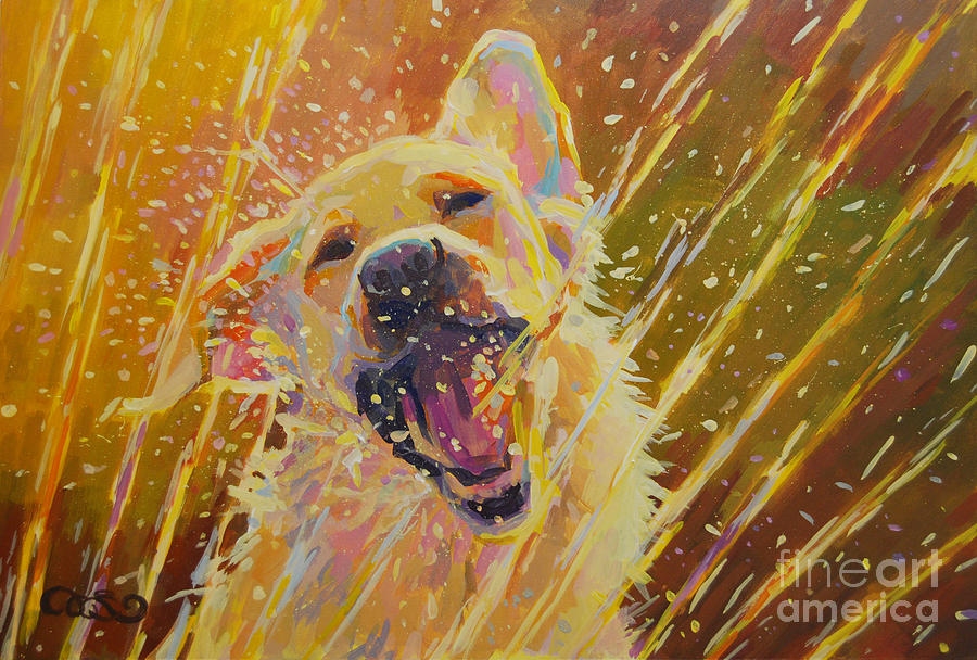 Yellow Lab Painting - August by Kimberly Santini
