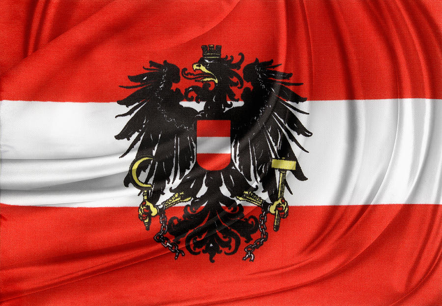 Banner Photograph - Austrian Flag by Les Cunliffe
