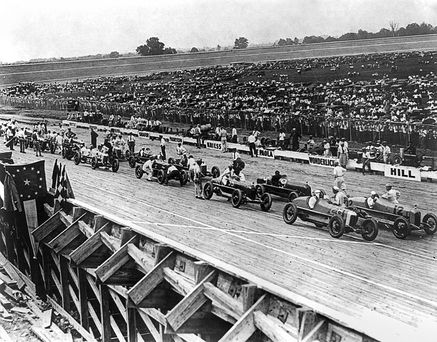 1922 Photograph - Auto Race, C1922 by Granger