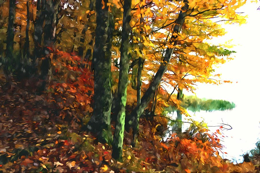 Mountain Lake Painting - Autumn Colors In The Forest 1 by Lanjee Chee