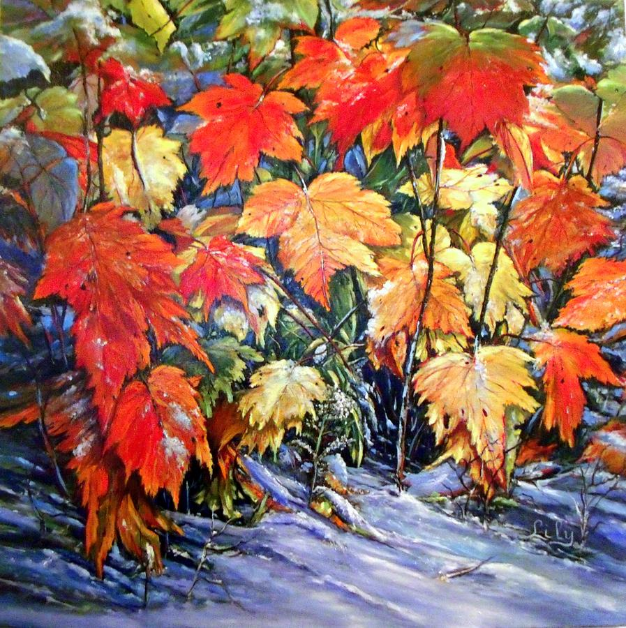 Autumn Leaves Painting - Autumn Frost by Lily Adamczyk