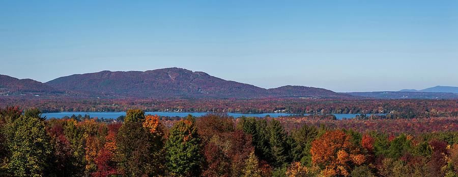 Horizontal Photograph - Autumn Trees At Lakeshore, Brome Lake by Panoramic Images