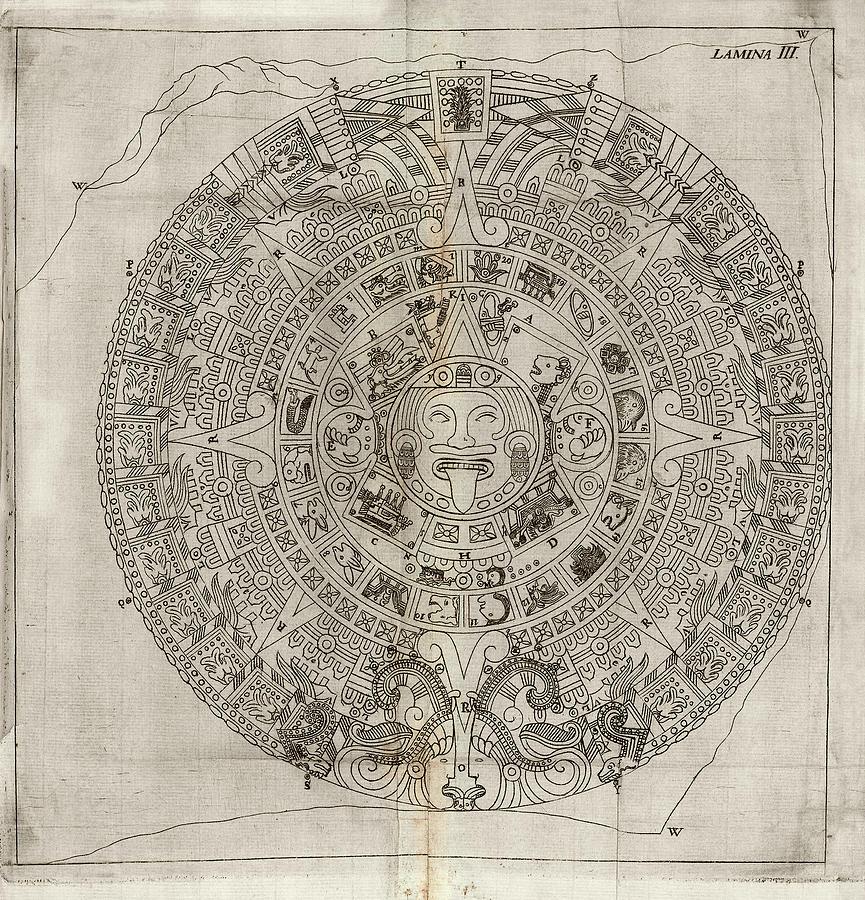 Aztec Calendar Stone.Aztec Calendar Stone By Library Of Congress
